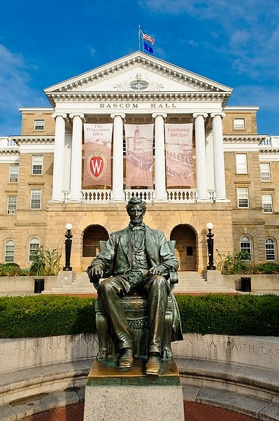 Statue of Abe Lincoln in front of Bascom Hall.