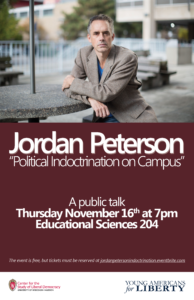 Poster for Jordan Peterson event.