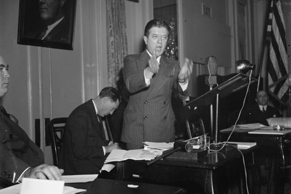 Senator Robert Lafollette delivers the principal speech at the opening session of the Convention of the Labor Nonpartisan League in 1937.