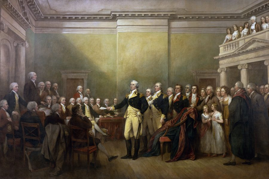 Annapolis, Maryland: George Washington hands Congress his resignation as commanding general of the Continental Army, December 23, 1783. Painting by John Trumbull.