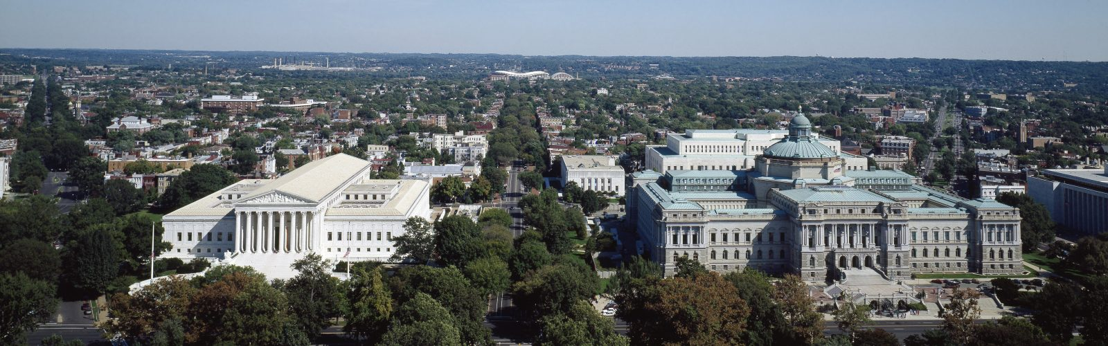 U.S. Supreme Court and Library of Congress Thomas Jefferson Building, taken from the U.S. Capitol dome, Washington, D.C.
