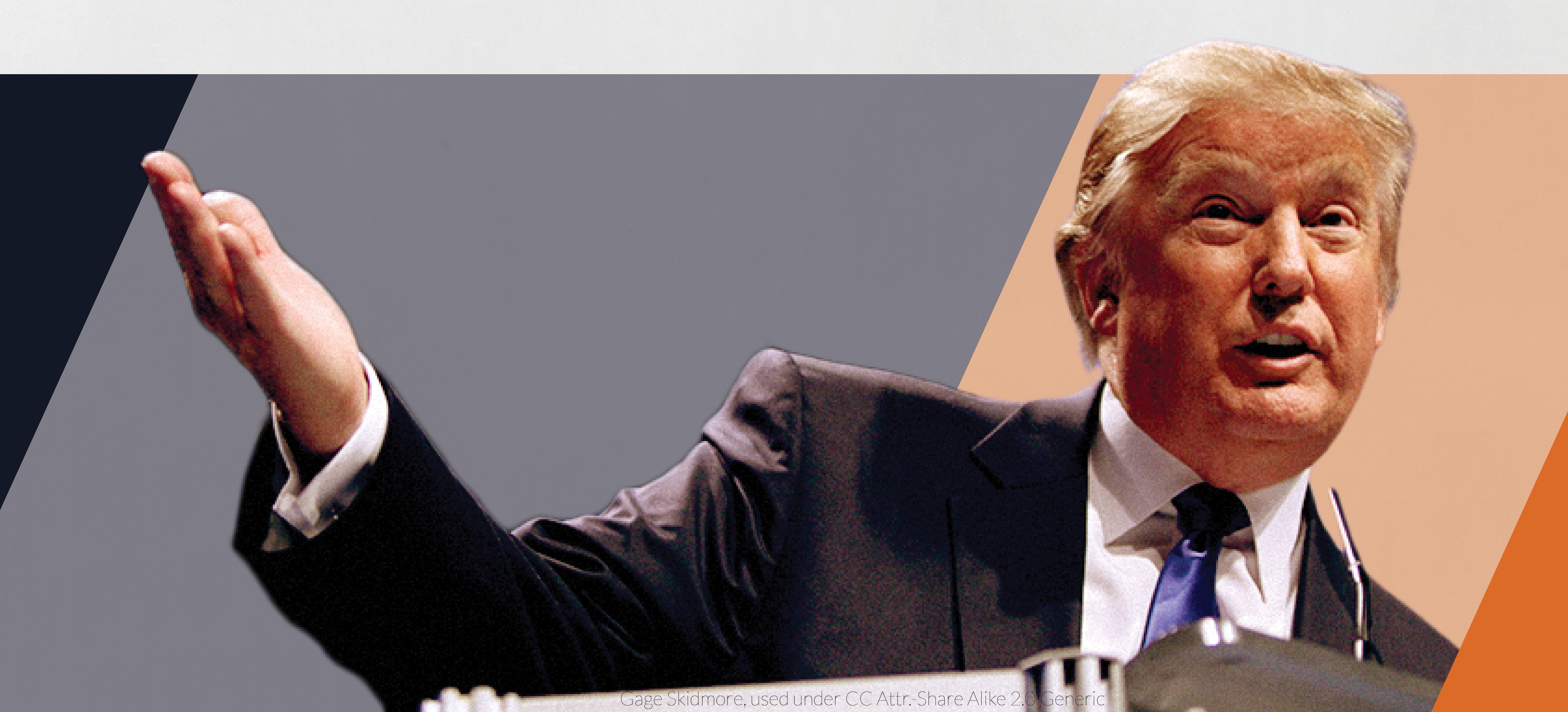 Donald Trump on stylized blue and orange background.