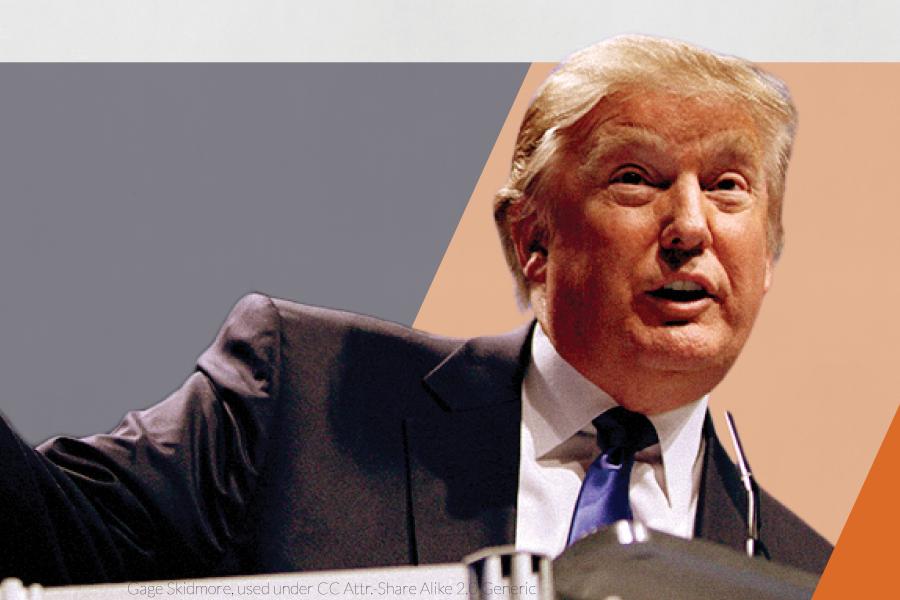 Donald Trump on stylized orange and blue background.