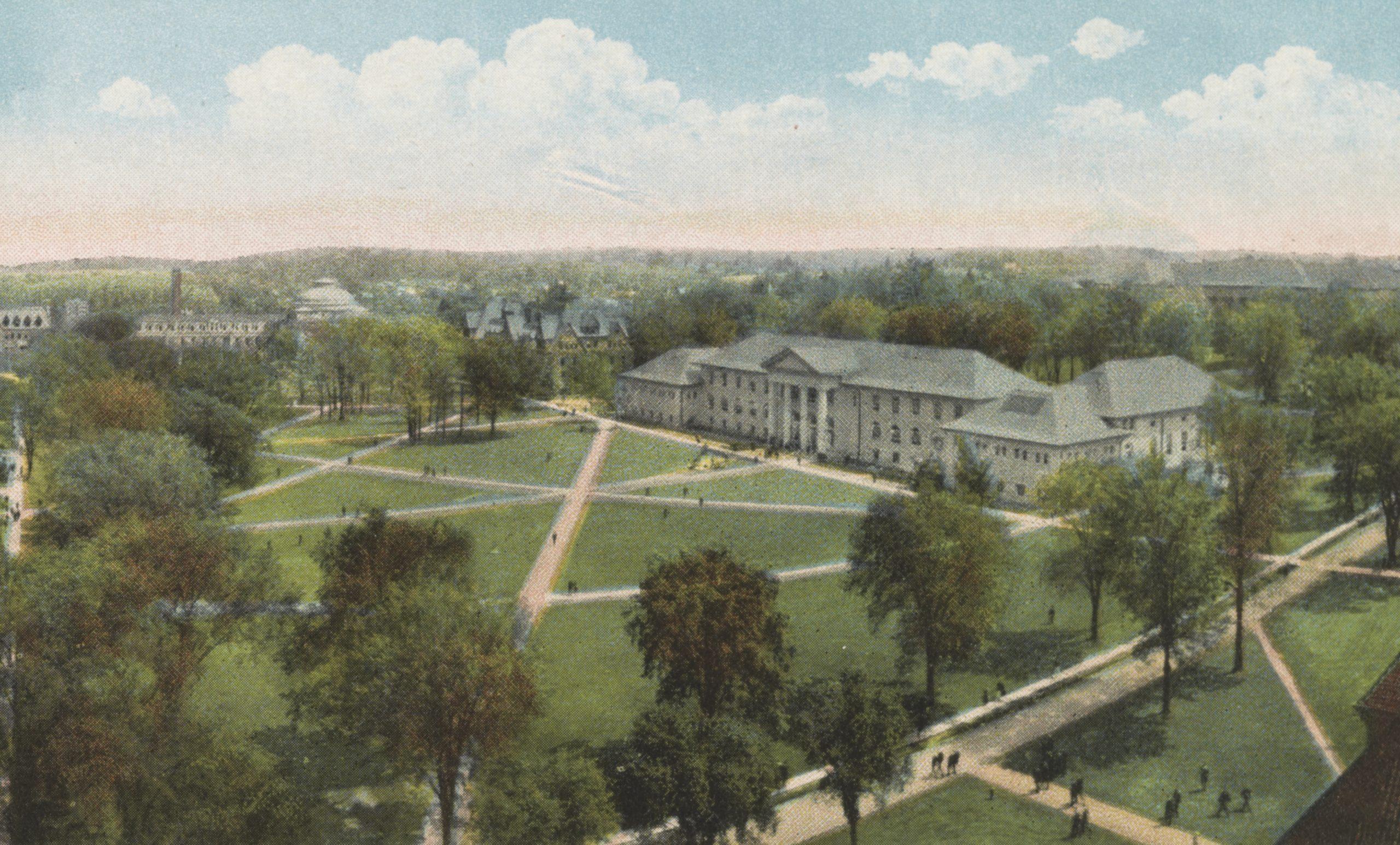 A college campus quad.