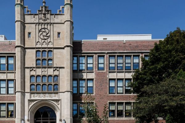 "Madison East High School, designed by architect Frank Riley in the ""Collegiate-Gothic"" style in Wisconsin's capital city"